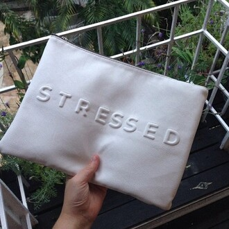 bag purse white stressed zip wallet stressed depressed but well dressed greyscale purer clutch spring summer fashion sleek basic designer phone cover pencil case make-up chic stressed clutch tumblr grunge. leather grunge cute stressed bag