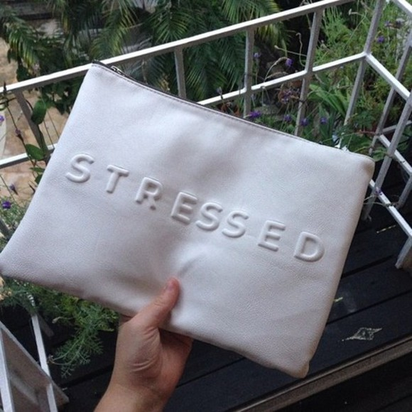 white zipper bag purse stressed wallet stressed depressed but well dressed
