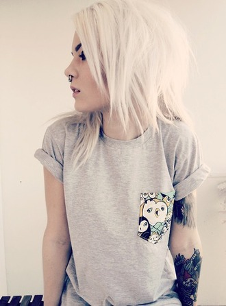 t-shirt indie fashion indie hipster tee grey tee tumblr fashion tumblr outfit pocket t-shirt owl