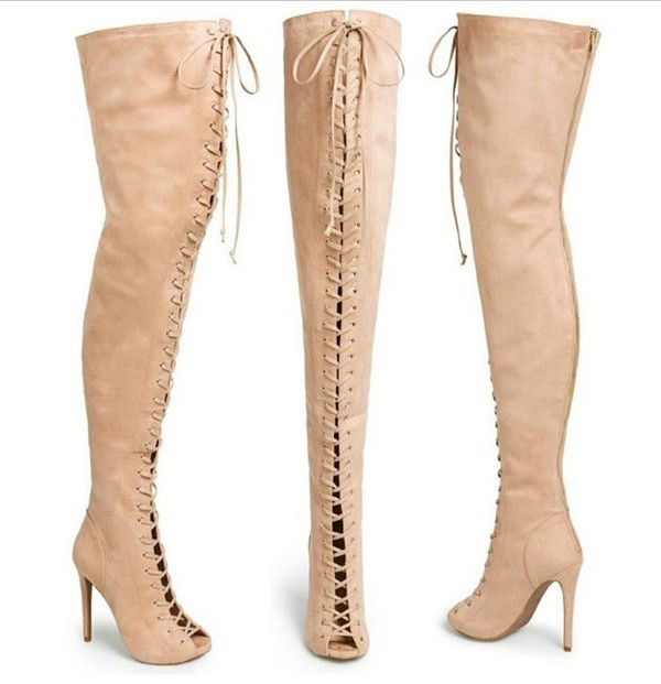 Toxic Nude Suede Peep Toe Lace Up Over the Knee Boots