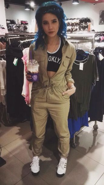 jumpsuit one peice black top fashion tumblr khaki long sleeves pants shirt