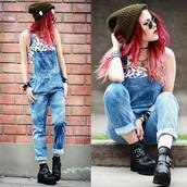 jeans,overalls,le happy,blue,jumpsuit