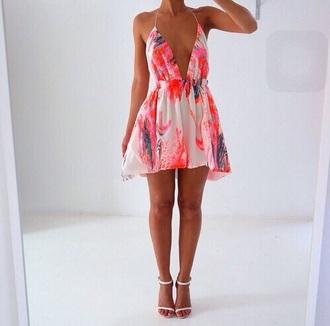 dress multi colored summer dress pink dress beach dress