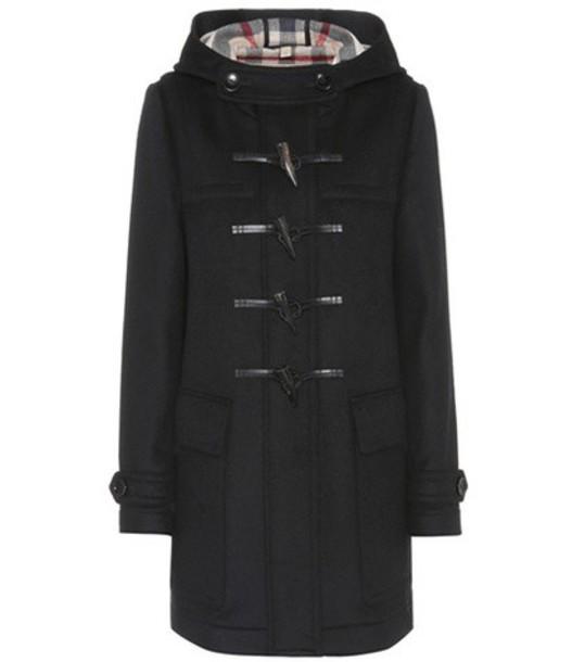Burberry coat duffle coat wool black