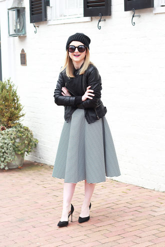 poor little it girl blogger striped skirt midi skirt beanie perfecto