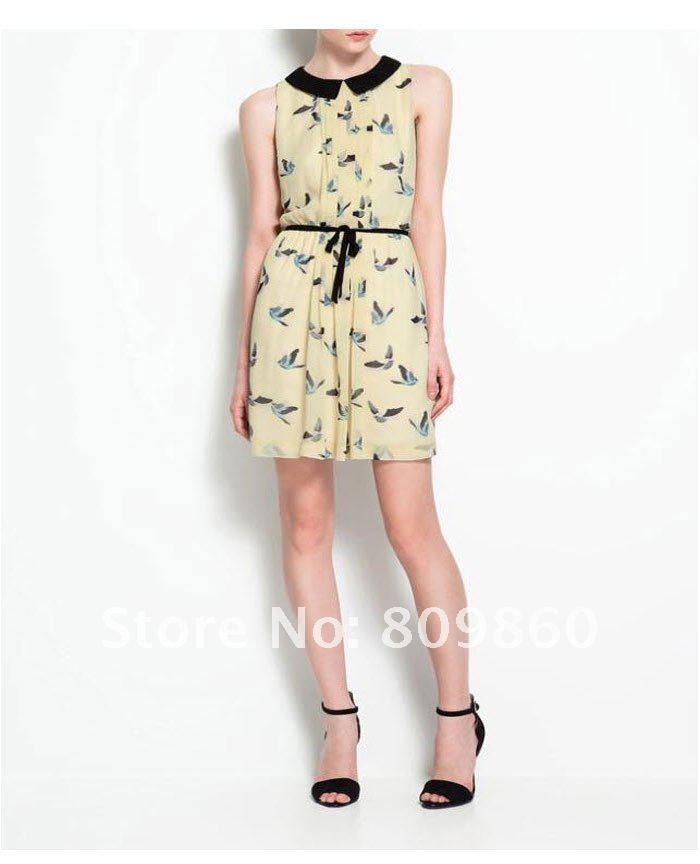 [I come back]]2013 new style the bird patterns women's cotton o neck dress Free shipping-in Dresses from Apparel & Accessories on Aliexpress.com