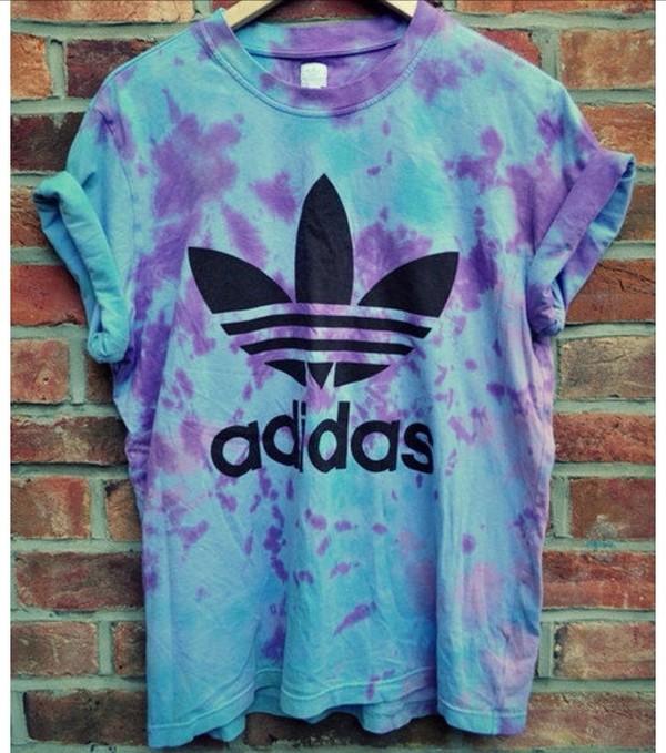 t-shirt adidas tie dye purple and blue