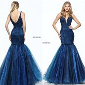 dress,sherri hill,fit and flare dress,pageant dress,prom dress,navy dress,blue dress,tulle dress