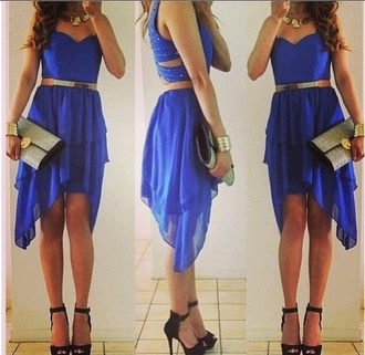 dress dressy classy nice girly gold blue glitter sequins summer prom high low glamour navy sparkle bag dark blue casual gold belt blue dress blue high low dress formal dress cut-out dress blue cut out dress high low dress party dress