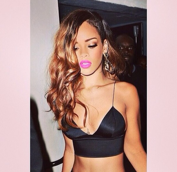 blouse black tank top rihanna sexy