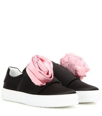 rose sneakers satin black shoes
