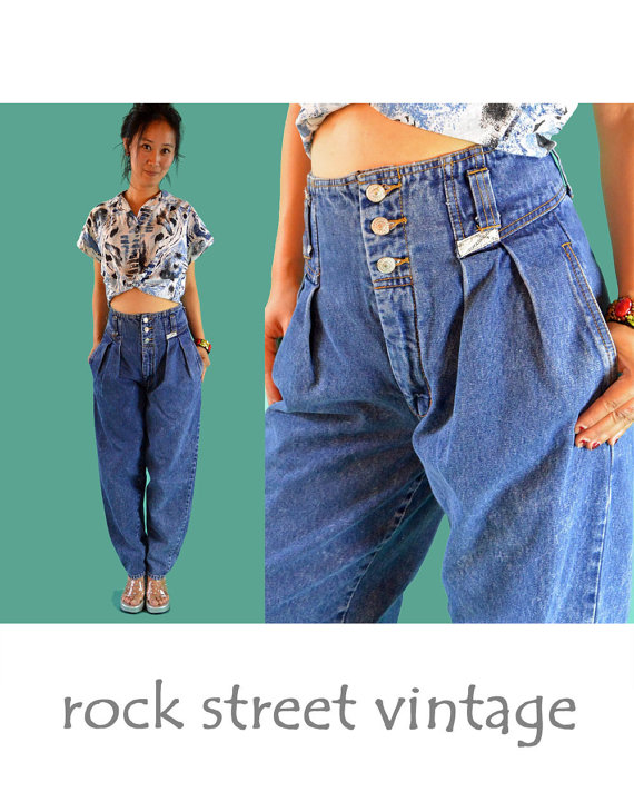 80s High Waist Jeans JORDACHE Acid Wash Super by rockstreetvintage