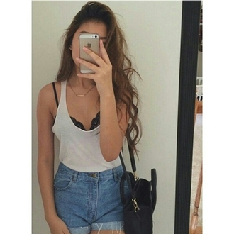shorts high waisted shorts white top bra bralette lace bralette gold necklace necklace bag tumblr girl tumblr outfit casual body fashion inspo chill trendy blogger on point clothing shirt gray tanktop white long hair tumblr cute boho indie hipster