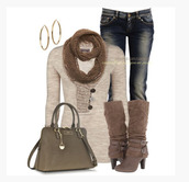 shoes,heels,high heels,boots,high heels boots,cuffed boots,buckles,taupe,top,beige sweater,scarf,earrings,hoop earrings,bag,purse,jeans,clothes,outfit,knee high boots