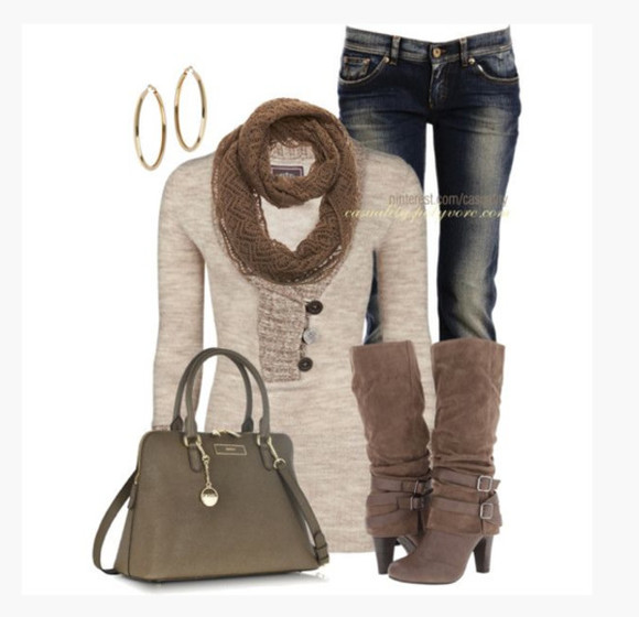 bag beige sweater clothes scarf top shoes high heels boots high heel boots cuffed boots buckles taupe earrings hoops hoop earrings purse jeans outfit knee high boots