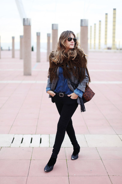my daily style blogger jacket folk knitted scarf