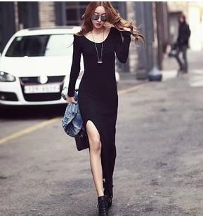 Fashion women's long dresses korean style sexy big vent long sleeves sexy slim female dresses black