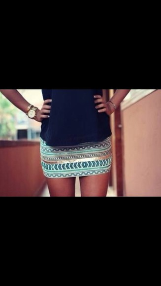 aztec skirt blue skirt mini light blue dark blue mini skirt