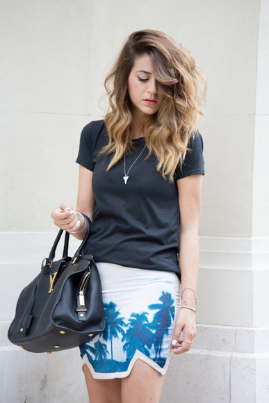 shoes t-shirt yves saint laurent skirt bag scent of obsession palm tree print mini skirt summer outfits blogger black t-shirt necklace hipster beach bracelets