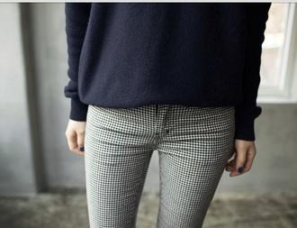 checkered beige vintage skinny pants