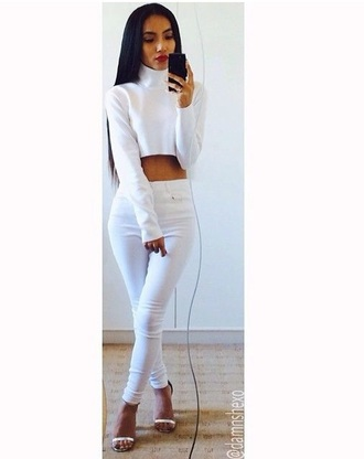 top crop tops knitwear winter outfits white crop tops skivvies turtleneck