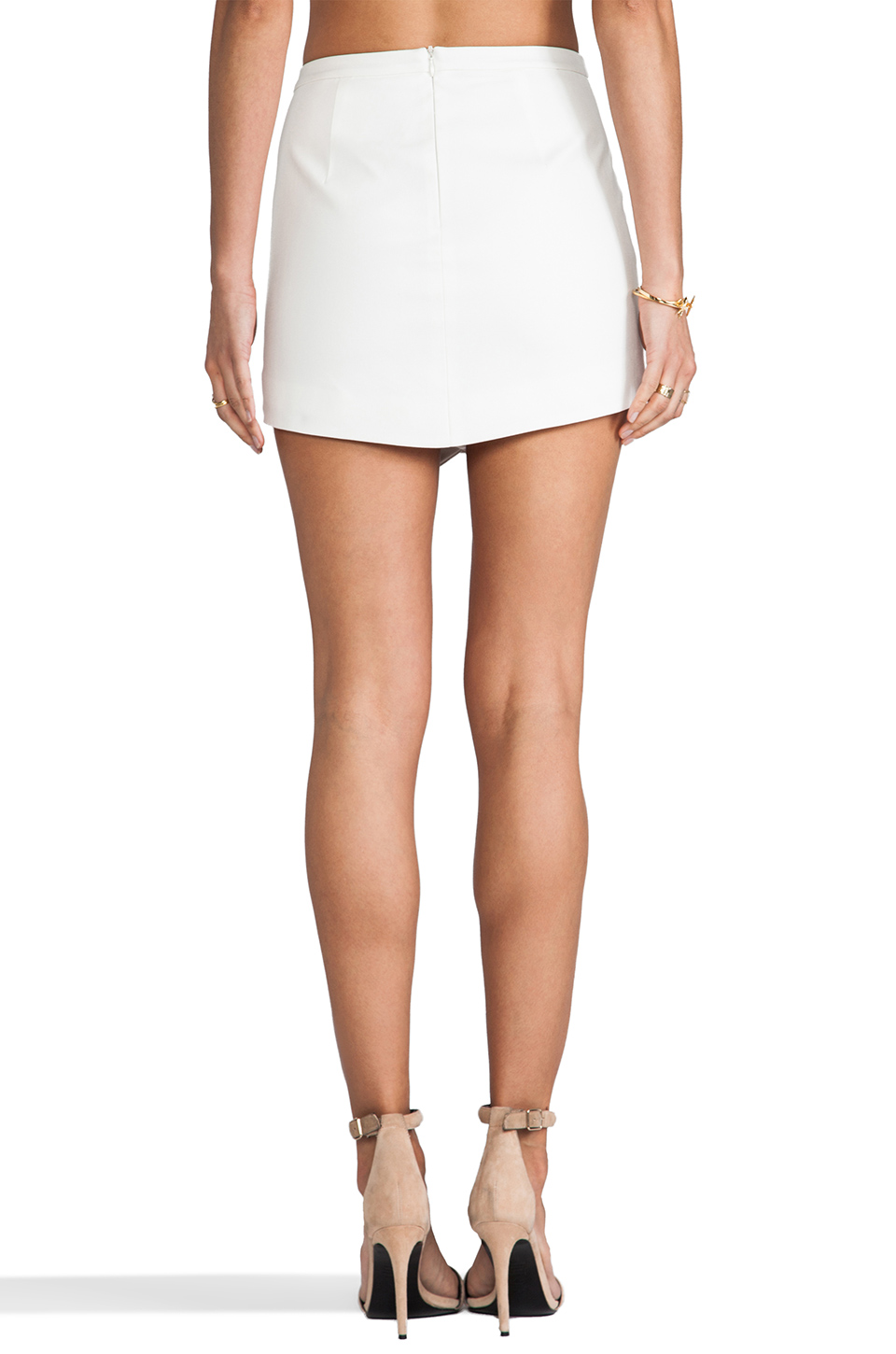 Mason by Michelle Mason Leather Front Skirt in Ivory | REVOLVE