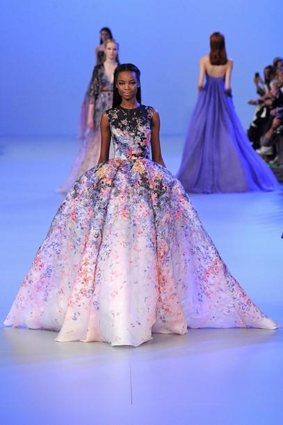 dress coulourful fashion week 2014 elie saab