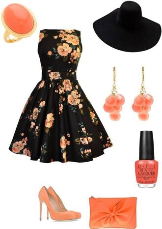 dress summer dress summer floral dress flowers petticoat vintage black roses orange 50s style 50s dress shoes nail polish date outfit