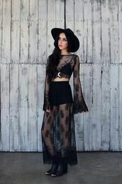 dress,black,black dress,long sleeve crop top,maxi skirt,mesh,indie rock,ankle boots