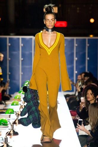 jumpsuit mustard pants top choker necklace runway plunge v neck fashion week 2017 paris fashion week 2017 fenty x puma
