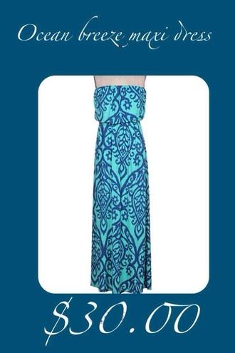 dress maxi dress aqua blue paisley paisley dress spring trends 2014 clothes clothing boutique women's clothing boutique