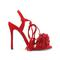 Red fashion strappy 4 inch heels