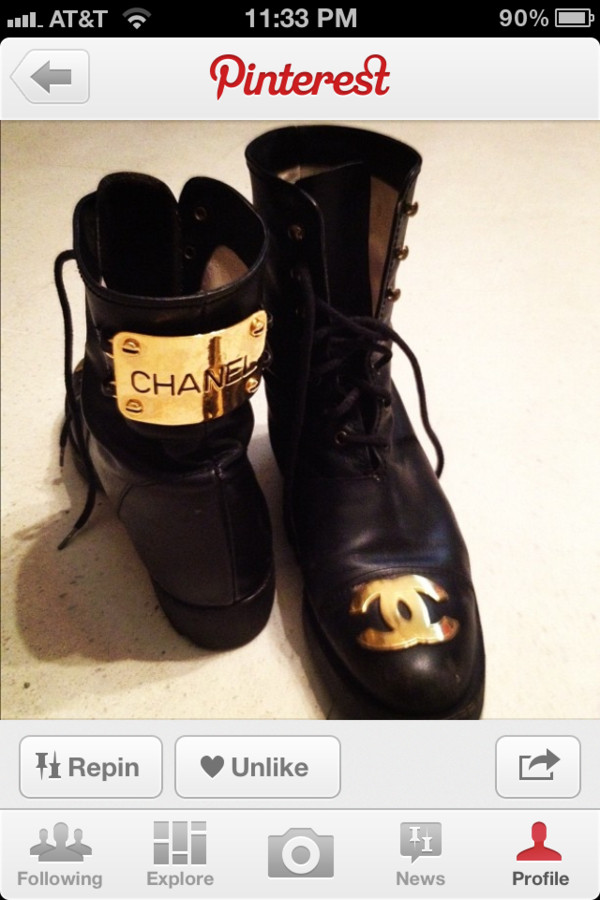 shoes chanel boots combat boots boots chanel gold chanel combat boots black hold plating trendy black chanel black style