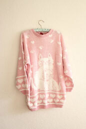 sweater,vintage,jumper,cats,heart,pink,kawaii,heart sweater