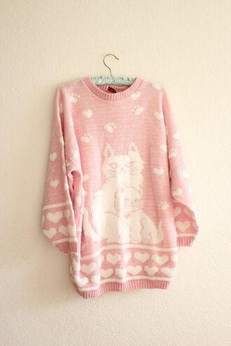 sweater vintage jumper cats heart pink kawaii heart sweater