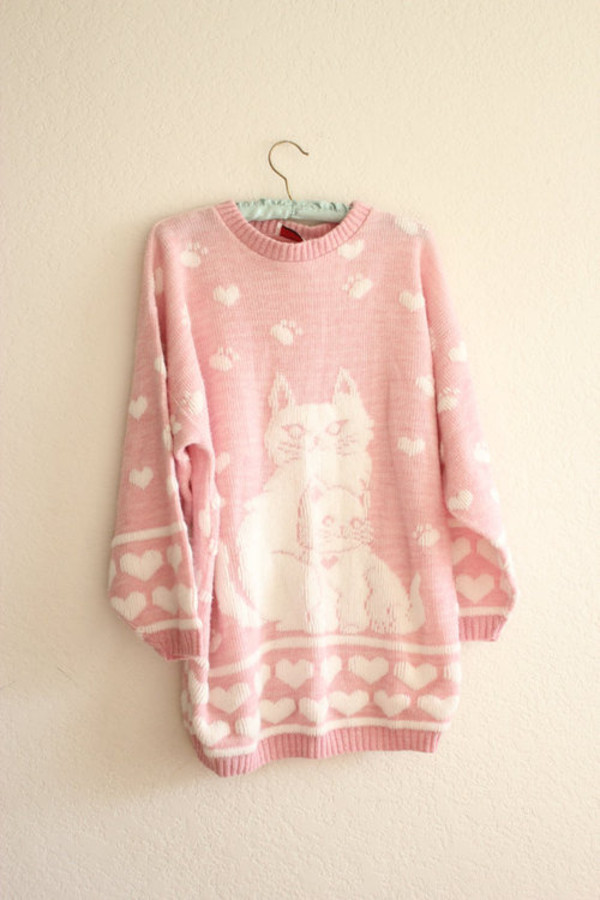 sweater vintage jumper cats heart pink kawaii heart sweater