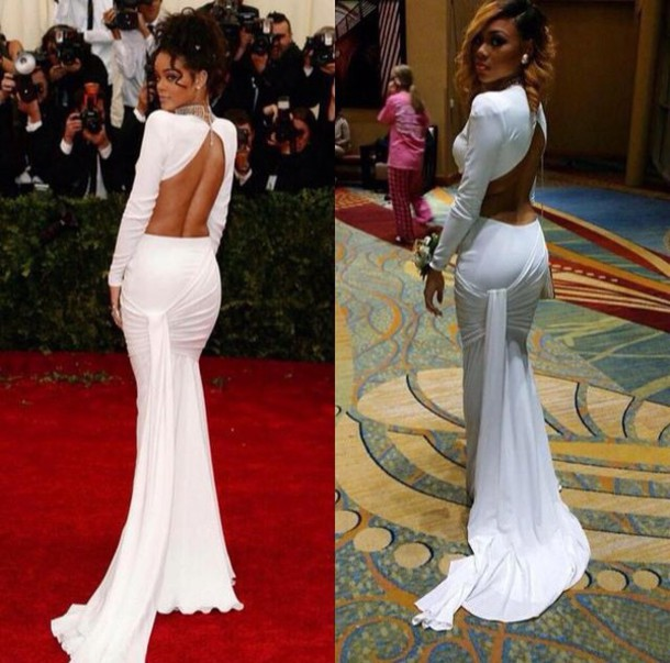 dress white dress rihanna prom dress long prom dress