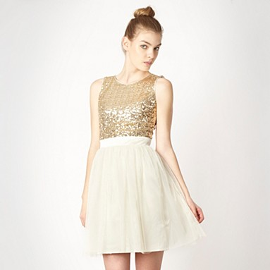 Lipsy gold sequin mesh skirt dress