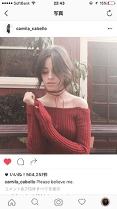 top,badthings,camila cabello,red,red sweater,sweater,long sleeves,knir,knitted sweater,off the shoulder,off the shoulder sweater,off the shoulder top,Fifth Harmony,instagram,camila cabello outfit,celebrity style,celebrity