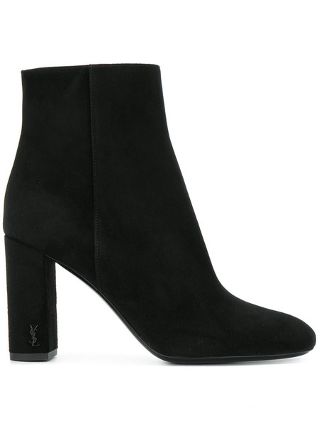 Saint Laurent women ankle boots leather suede black shoes
