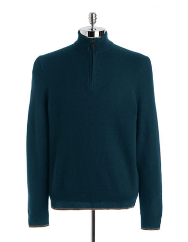 Lambswool Blend Quarter-Zip Mockneck Sweater | Lord and Taylor