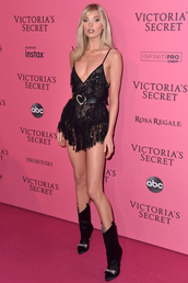 dress,all black everything,model,victoria's secret,victoria's secret model,elsa hosk,boots,lace dress,lace