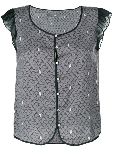 Cotélac - embroidered fitted blouse - women - Silk/Polyester - 3, Grey, Silk/Polyester