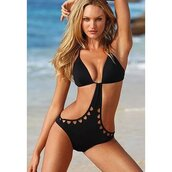 swimwear,hollow out backless one piece swimwear bikini,black monokini black swimsuit,black monokini crochet