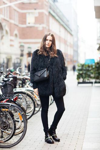 carolines mode blogger coat jeans bag shoes