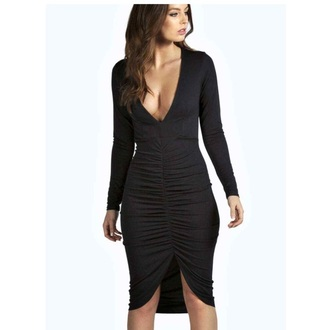 dress clothes black dress low cut dress rouched dress