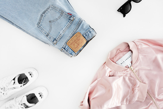 victoria tornegren blogger satin bomber pink bomber pink jacket levi's straight jeans adidas shoes back to school