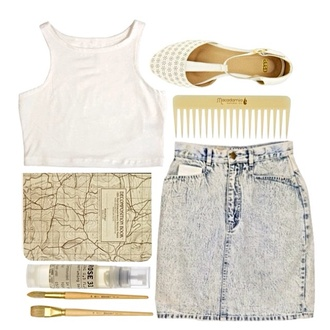 shoes white blouse skirt beautiful jewels white shoes brush high waisted skirt blue skirt flat sandals makeup brushes map print notebook