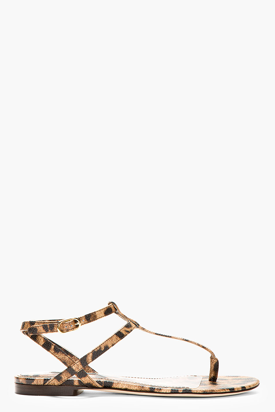 Dolce and gabbana brown leather leopard spot flat sandals