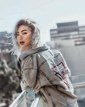 jacket,guess,tumblr,blue jacket,denim jacket,clear lens sunglasses,sunglasses,red lipstick,lipstick,hair,short hair,hairstyles,platinum hair,eye makeup,eyeliner,eye shadow,eyebrows